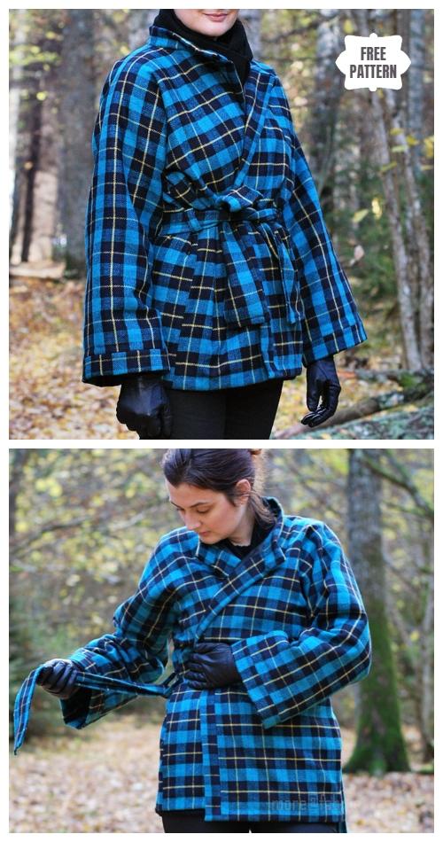 DIY Women Belted Kimono Jacket Free Sewing Pattern & Tutorial