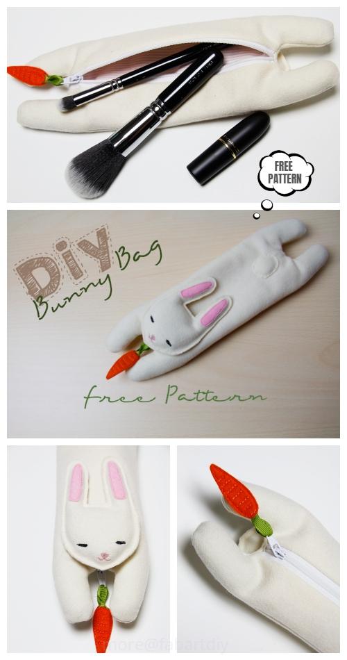 DIY Bunny Cosmetic Bag Free Sewing Pattern & Tutorial