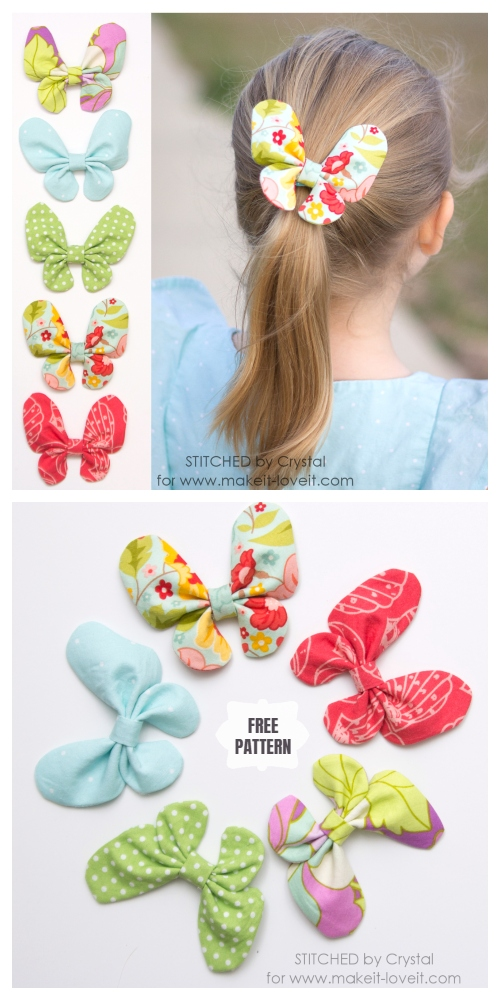 DIY Butterfly Hair Bow Free Sewing Pattern