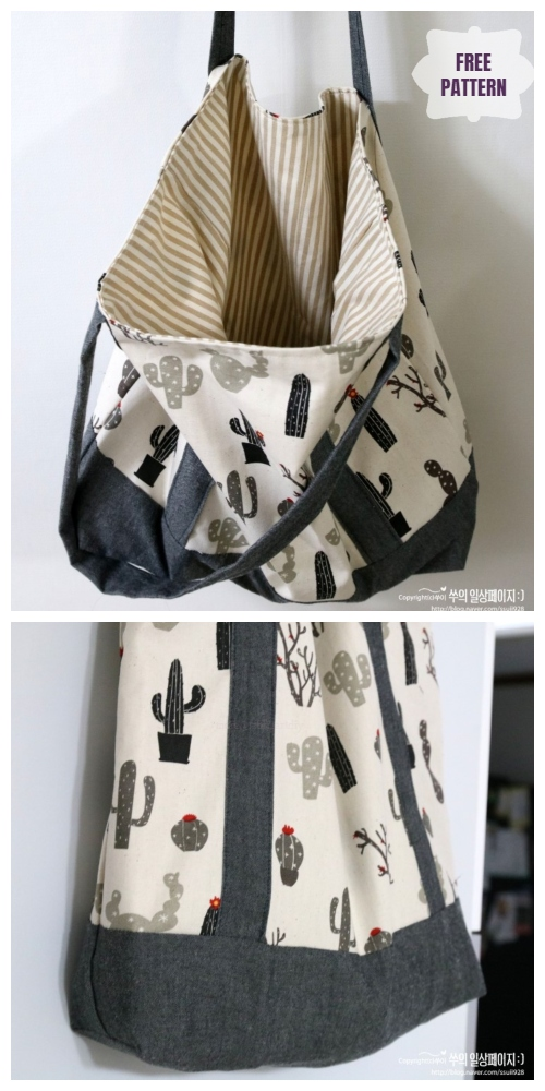DIY Double-Sided Fabric Eco Shopping Bag Free Sewing Pattern & Tutorial