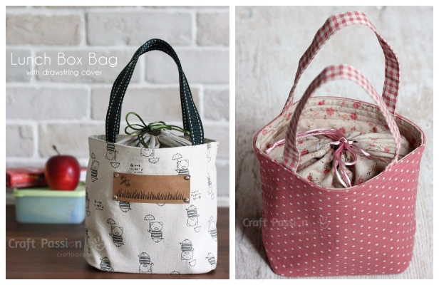 DIY Drawstring Lunch Box Bag Free Sewing Pattern & Tutorial