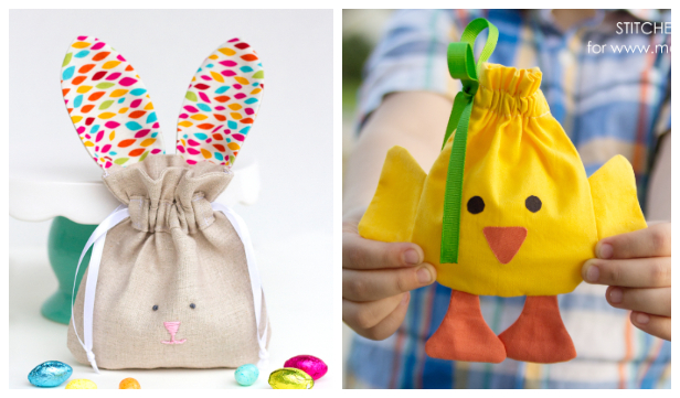 DIY Easter Carrot Drawstring Treat Bag Free Sewing Patterns