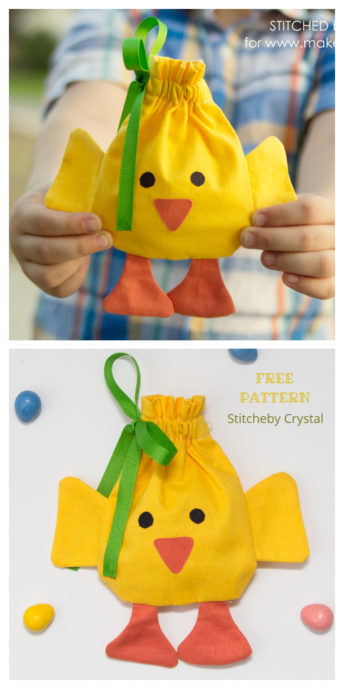 DIY Easter Chick Drawstring Treat Bag Free Sewing Patterns + Tutorials