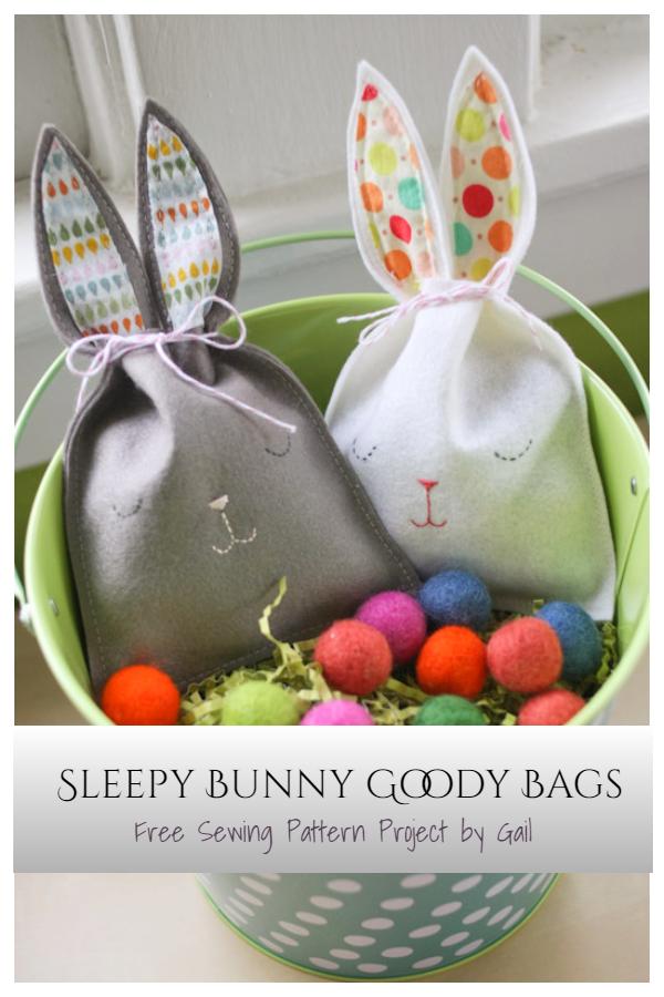 DIY Easter Sleepy Bunny Goody Bags Free Sewing Patterns