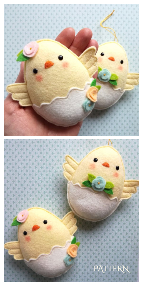 DIY Easter Felt Bay Chicks Sewing Pattern & Tutorial