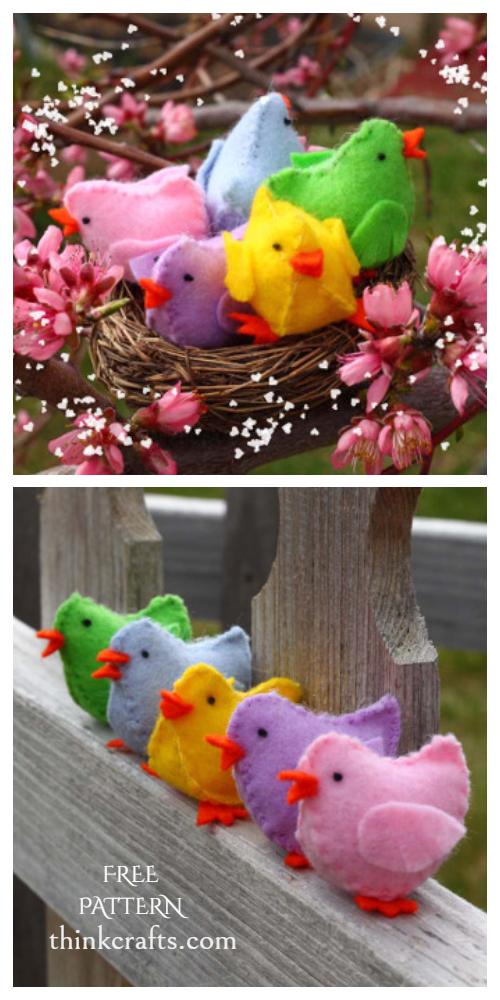 DIY Easter Felt Bay Chicks Free Sewing Pattern & Tutorial