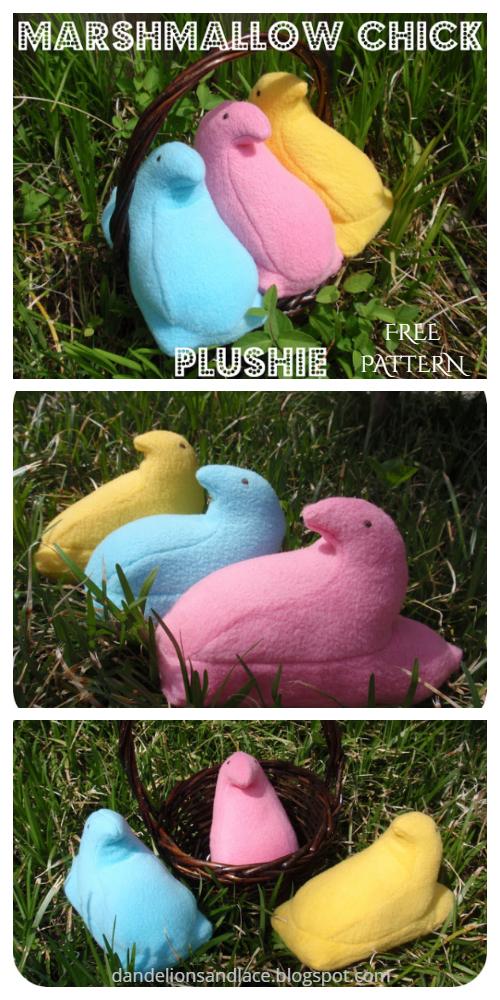 DIY Easter Felt Marshmallow Chick Plushies Free Sewing Pattern & Tutorial