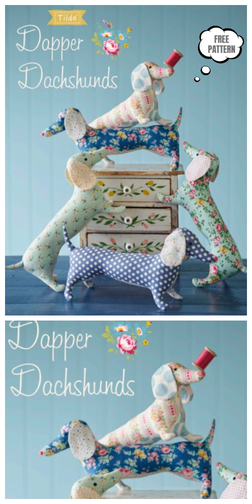 DIY Fabric Dachshund Dog Toy Free Sewing Patterns & Tutorials
