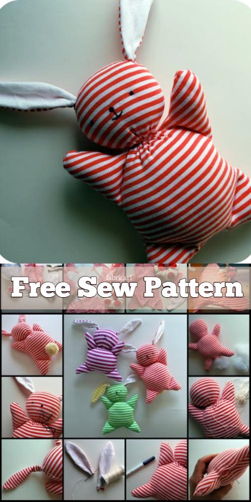 DIY Fabric Floppy Ear Bunny Free Sewing Pattern & Tutorial
