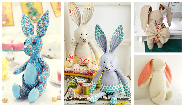 DIY Fabric Easter Bunny Toy Free Sewing Patterns & Tutorials