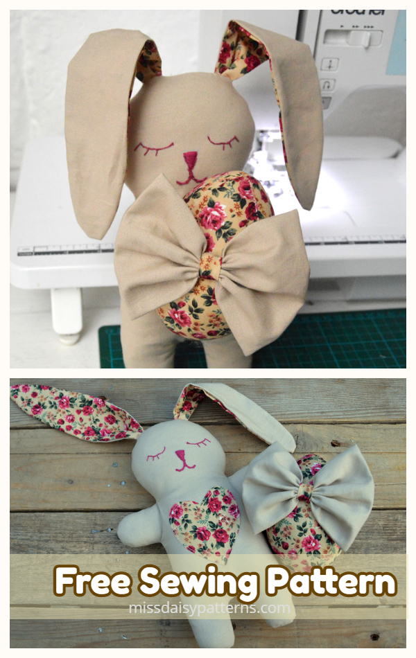DIY Fabric Snuggle Bunny Free Sewing Pattern & Tutorial