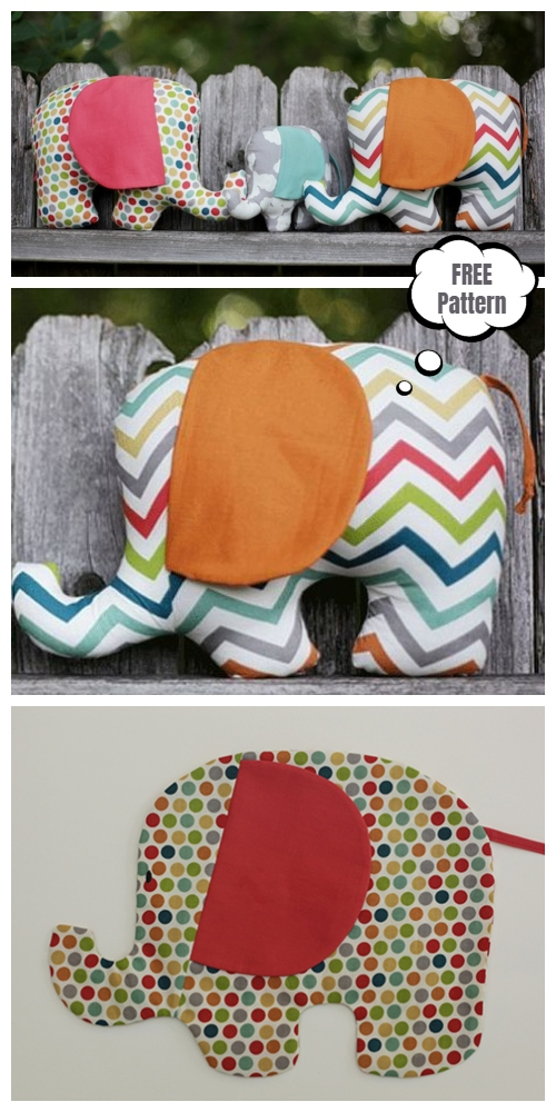 DIY Fabric Elephant Plushies Toy Free Sewing Patterns & Tutorials