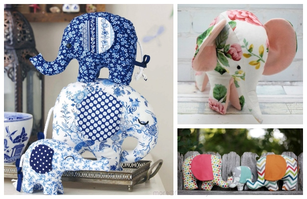 DIY Fabric Elephant Toy Free Sewing Patterns & Tutorials