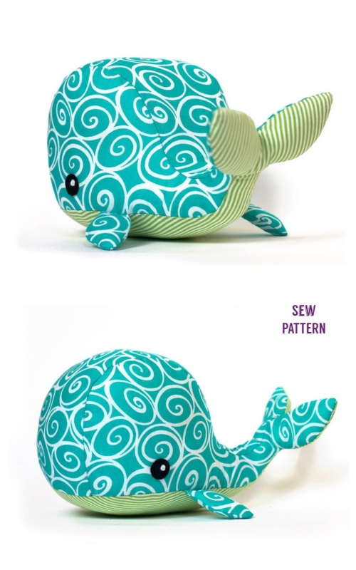 DIY Fabric Whale Plush Sewing Pattern