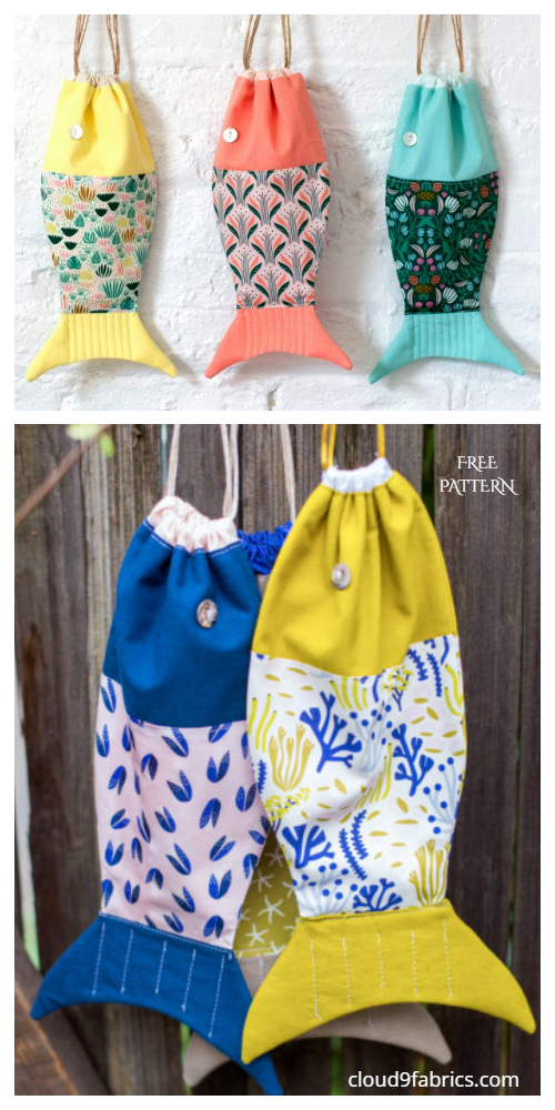 DIY Fabric Drawstring Fish Bag Free Sewing Patterns