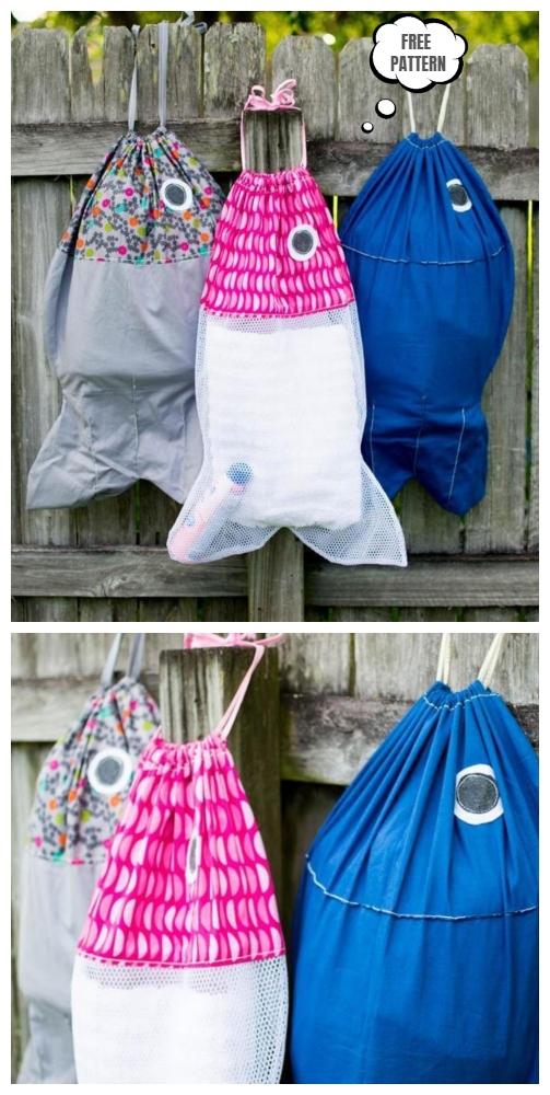 DIY Fish Laundry Bag Free Sewing Pattern