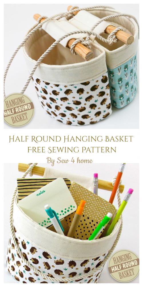 Half Round Hanging Basket Sewing Free Pattern - DIY Tutorial