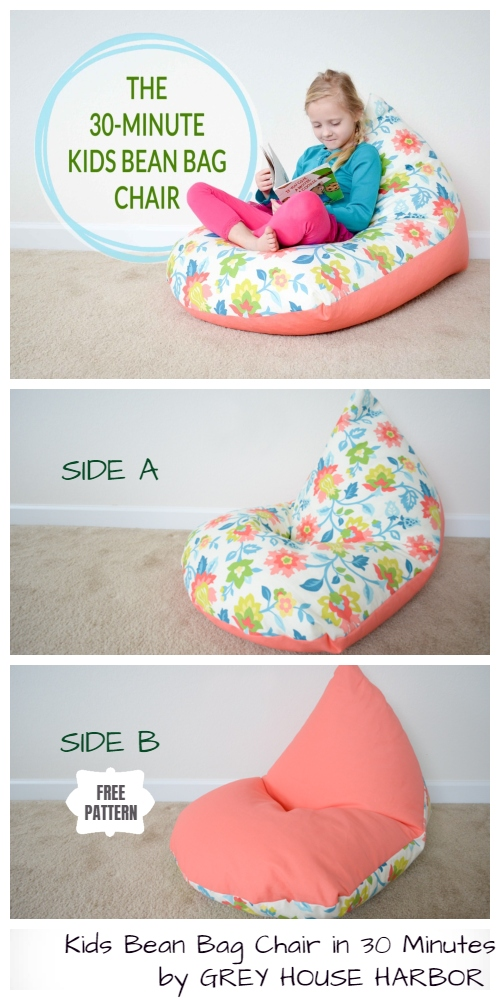 Quick DIY Kids Bean Bag Chair Free Sewing Pattern & Tutorial