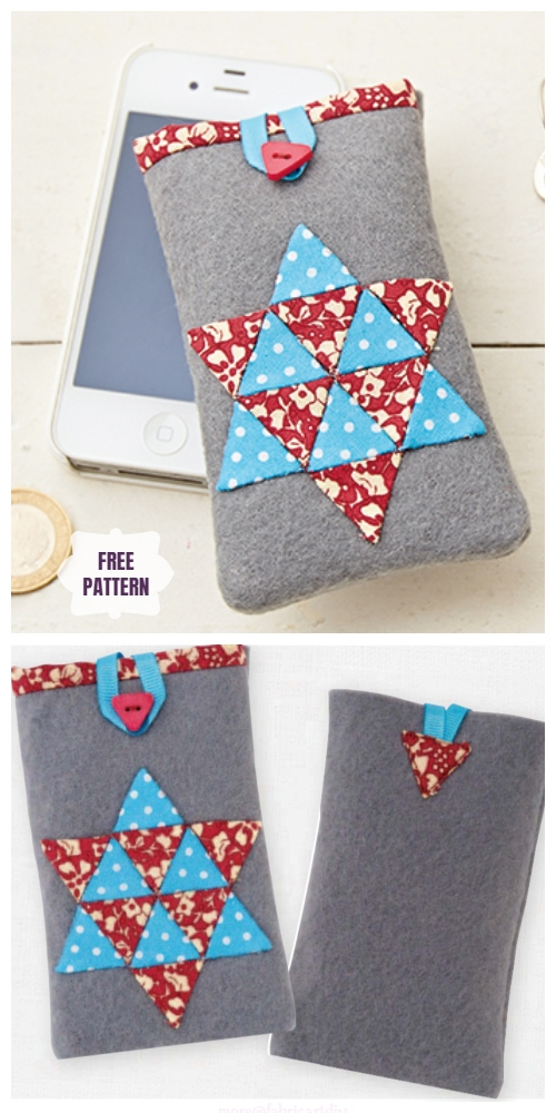 DIY Patchwork Cellphone Cozy Free Sewing Pattern & Tutorial