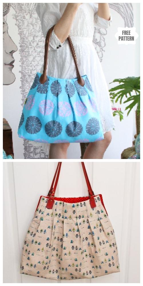 DIY Pleated Tote Bag Free Sewing Pattern