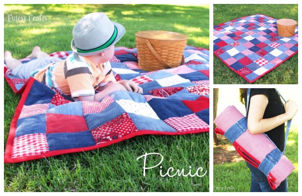 DIY Recycled Jean Picnic Quilt Free Sewing Pattern & Tutorial