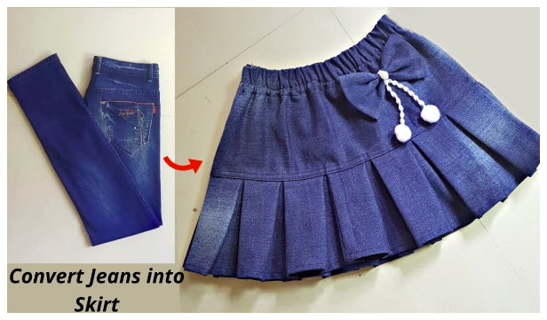 DIY Repurposed Pleated Jean Skirt Free Sewing Pattern