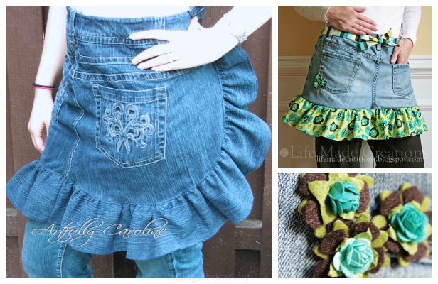 DIY Ruffled Denim Apron from Recycled Jeans Free Sewing Pattern