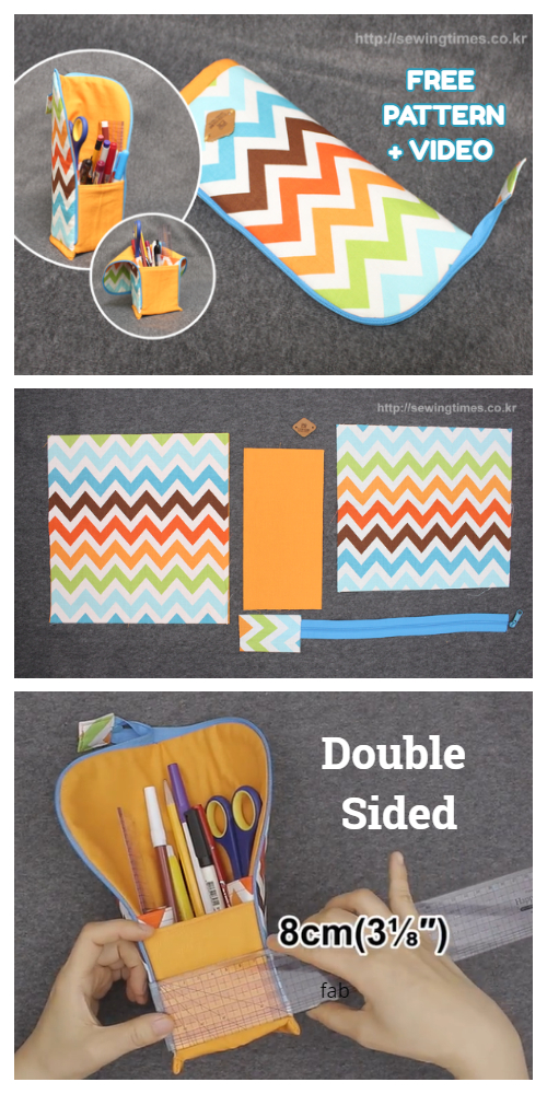 DIY Standing Zippered Pencil Pouch Free Sewing Pattern + Video