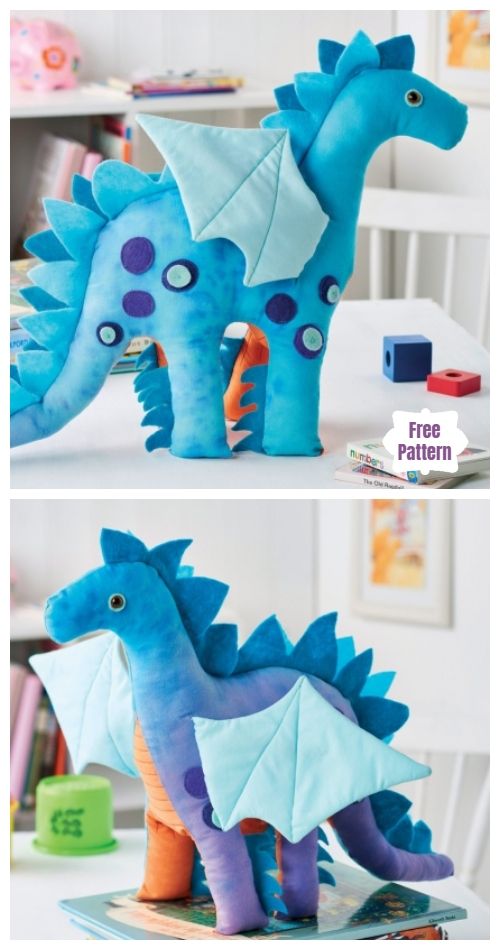DIY Nigel the Dragon Toy Free Sewing Pattern & Tutorial