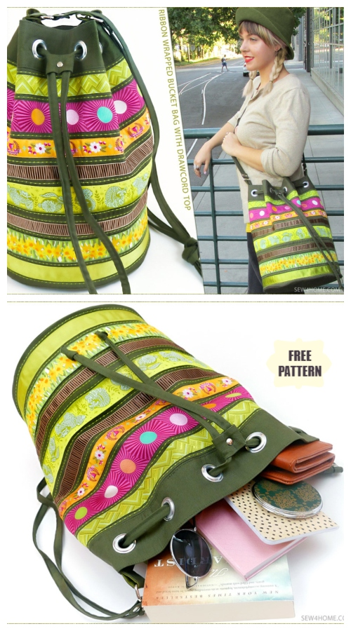 DIY Ribbon Wrapped Bucket Bag Free Sewing Pattern & Tutorial