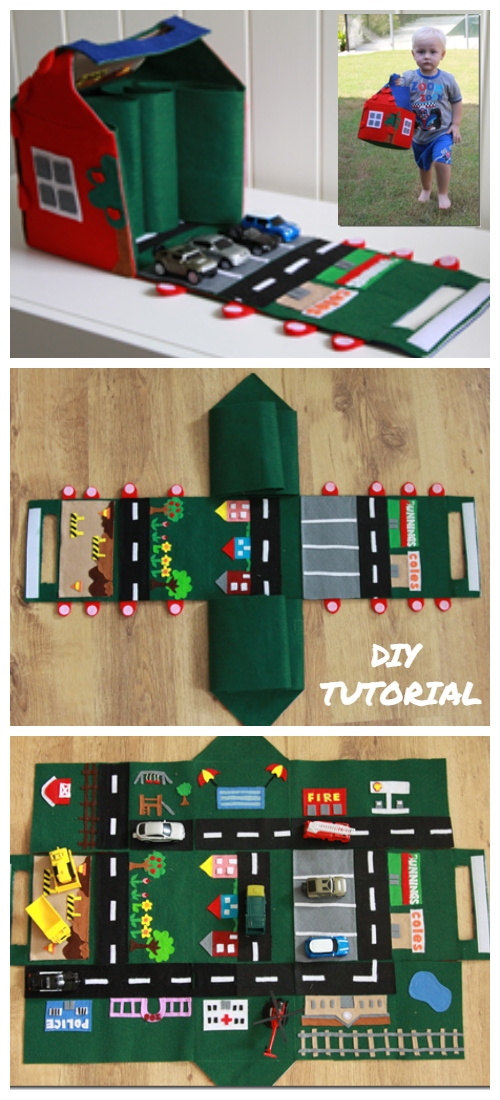 DIY Felt Car Play Mat-House Free Sewing Pattern & Tutorial