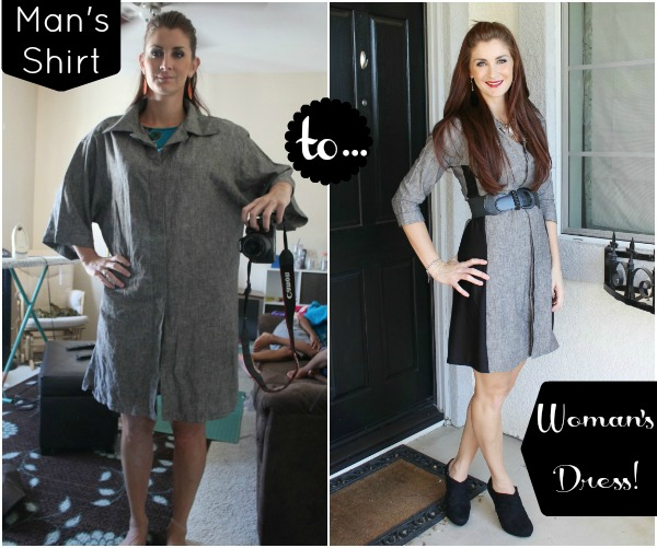 Refashion Men Shirt into Women Dress DIY Tutorial