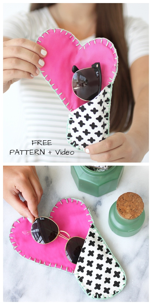 DIY Canvas Heart Sunglass Case Free Sewing Pattern + Video