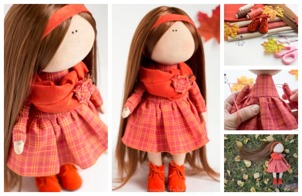 DIY Cute Fabric Doll Toy Free Sewing Pattern & Tutorial