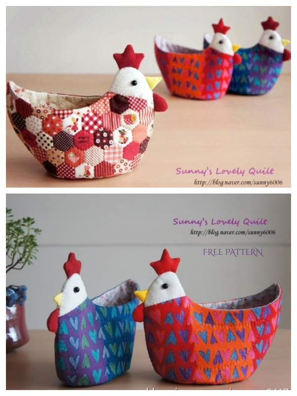 DIY Easter Stuffed Chicken Basket Free Sewing Patterns