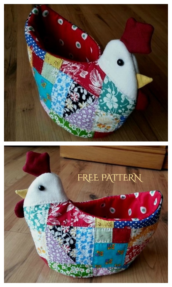 DIY Easter Patchwork Chickens Bowl Free Sewing Patterns
