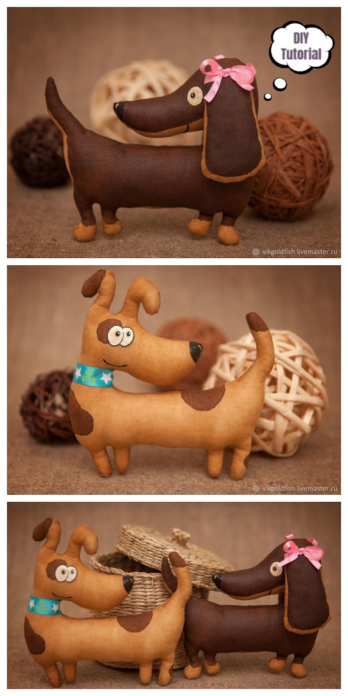 DIY Fabric Dachshund Dog Toy Free Sewing Patterns & Tutorials