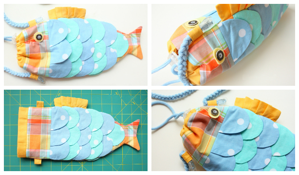DIY Fabric Drawstring Fishy Purse Free Sewing Patterns & Tutorials