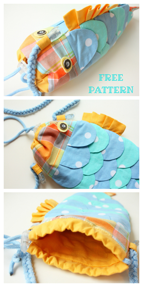 DIY Fabric Drawstring Fishy Purse Free Sewing Pattern & Tutorial