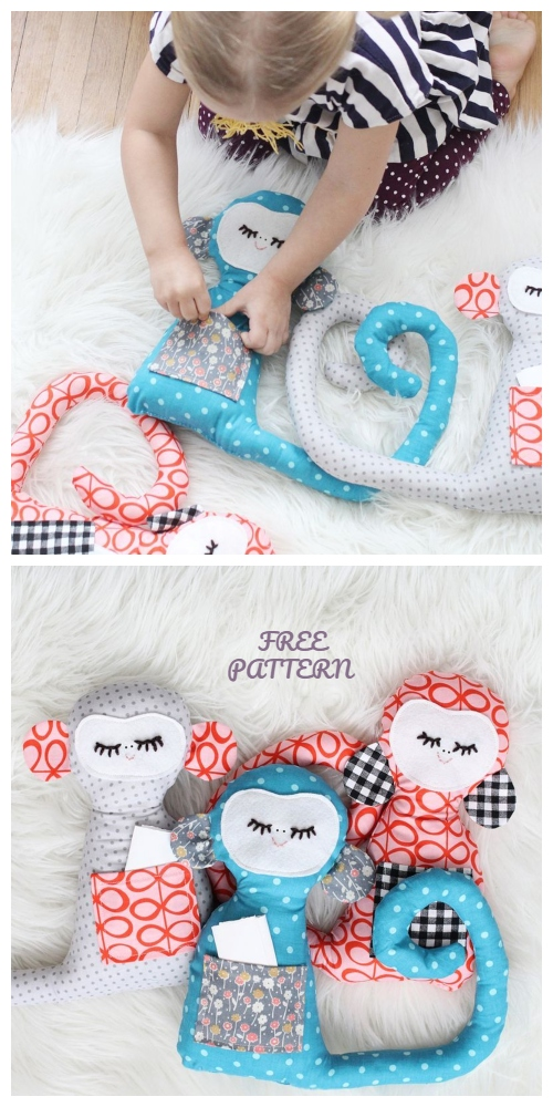 DIY Fabric Secret Notes Monkey Toy Free Sewing Patterns