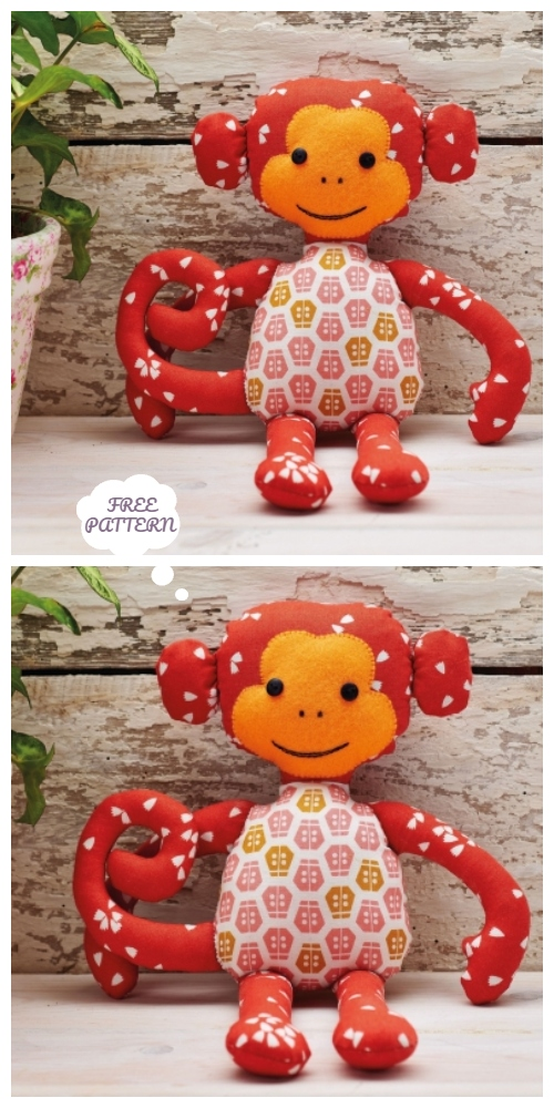 DIY Fabric Monkey Toy Free Sewing Patterns