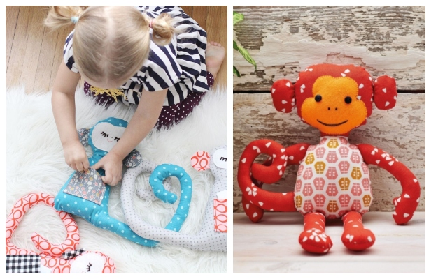 DIY Fabric Monkey Toy Free Sewing Patterns & Tutorials