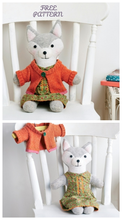 DIY Upcycled Toy Fox Toy Free Sewing Patterns