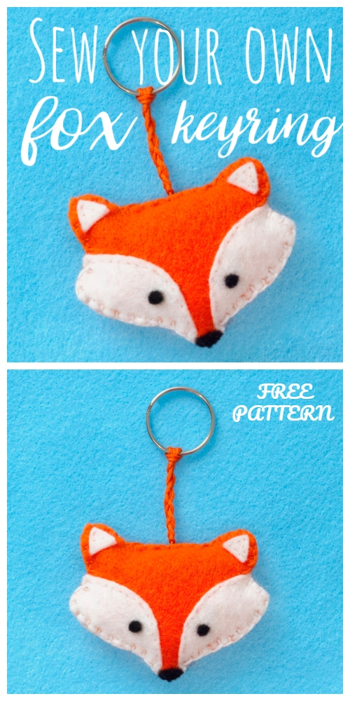 DIY Felt Fox Keyring Free Sewing Patterns