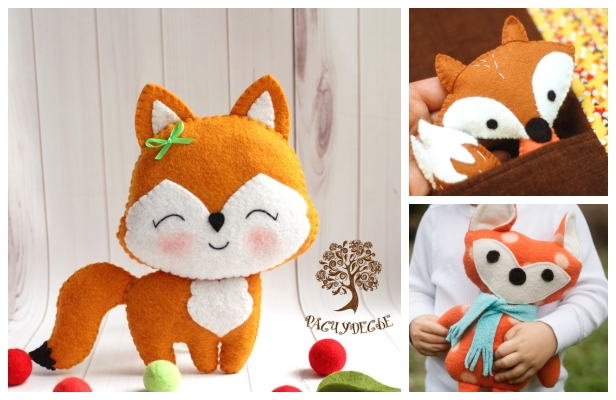 DIY Cute Felt Fox Toy Free Sewing Patterns