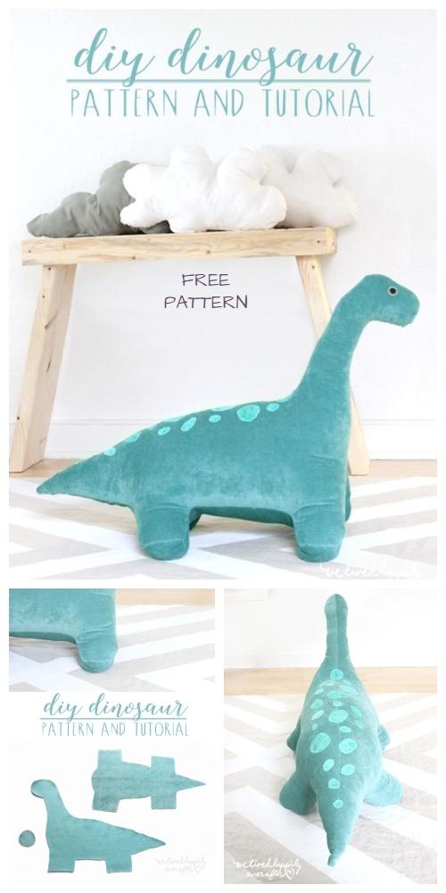 DIY Giant Dinosaur Toy Free Sewing Pattern & Tutorial