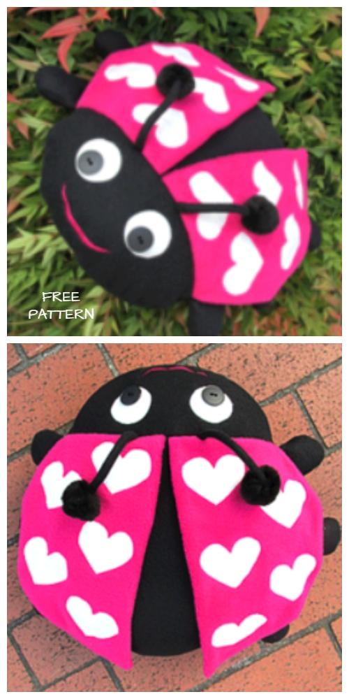 DIY Ladybug Pillow Free Sewing Pattern & Tutorial