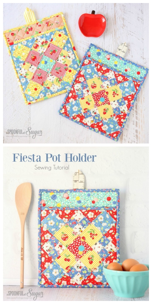 DIY Patchwork Fiesta Potholder Free Sewing Pattern & Tutorial