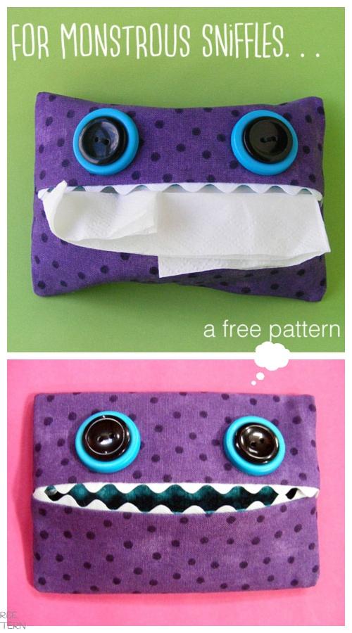 DIY Monster Tissue Pack Free Sewing Pattern & Tutorial