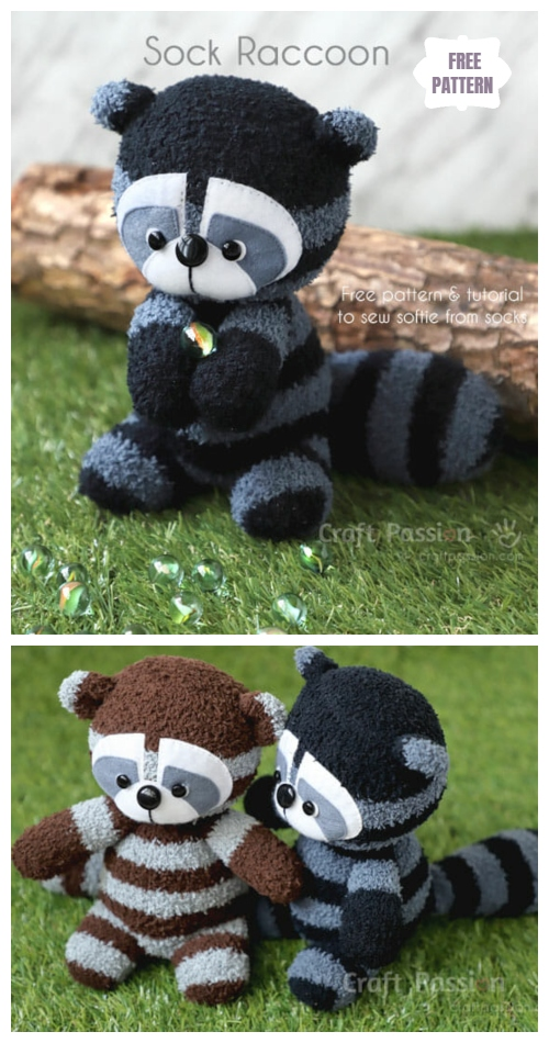 DIY Sock Raccoon Softies Free Sewing Patterns & Tutorials